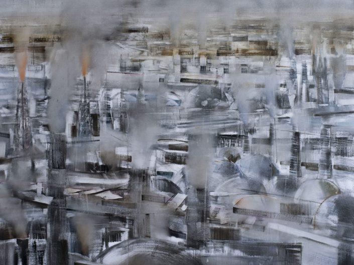 Carretera, 2015. Óleo sobre papel, 110x130 cm