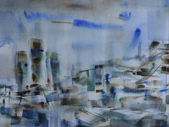 Untitled, 2014. Watercolor on paper, 35x101 cm